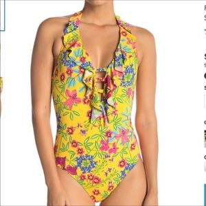 NWT- One Piece Floral Ruffle Swimsuit -12